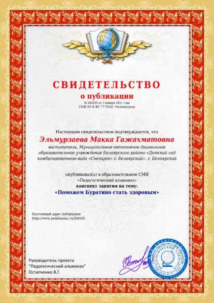 Свидетельство о публикации № 204205