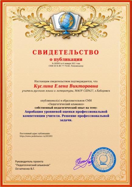 Свидетельство о публикации № 205093