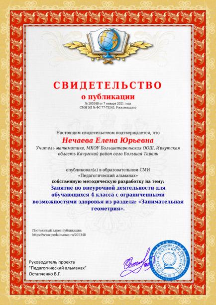Свидетельство о публикации № 205348