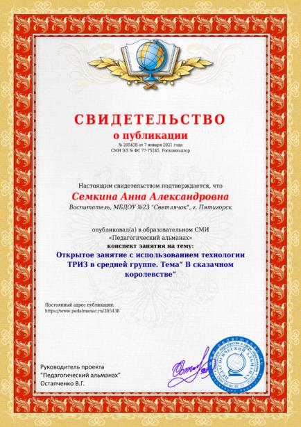 Свидетельство о публикации № 205438