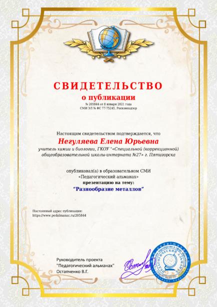 Свидетельство о публикации № 205844