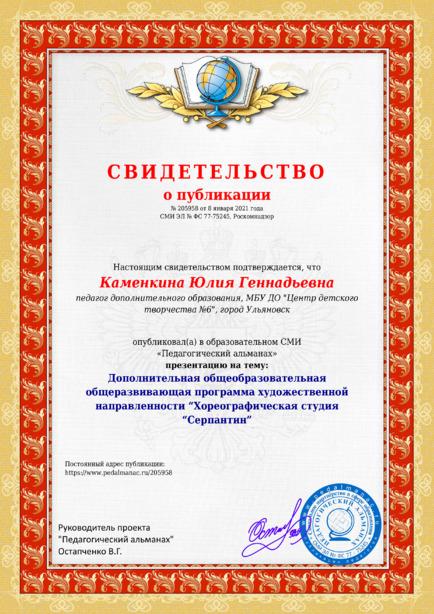 Свидетельство о публикации № 205958