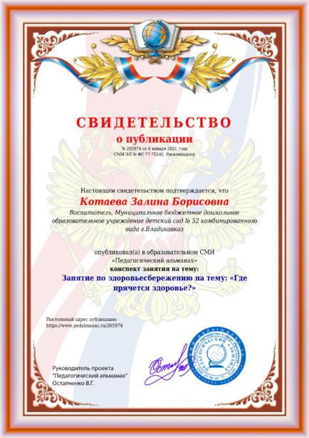 Свидетельство о публикации № 205974