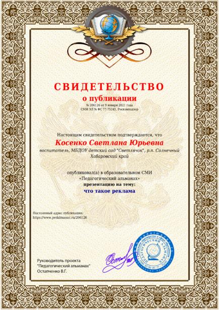 Свидетельство о публикации № 206126