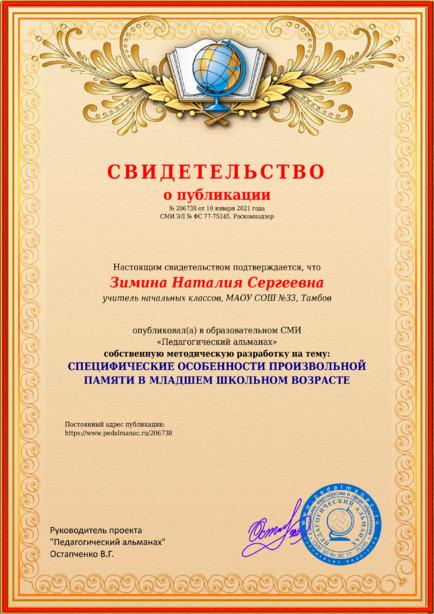 Свидетельство о публикации № 206738