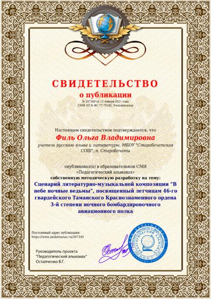 Свидетельство о публикации № 207349
