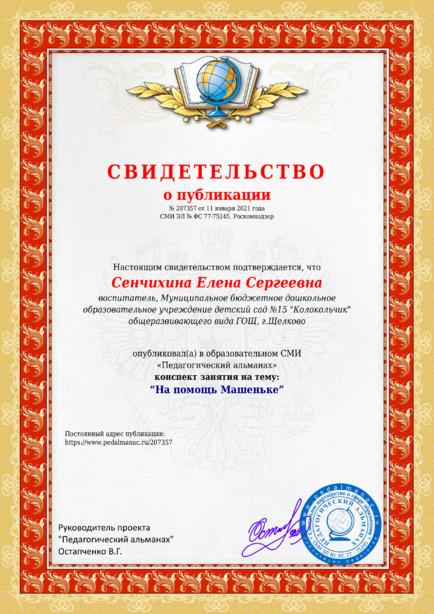 Свидетельство о публикации № 207357