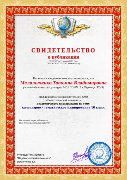 Свидетельство о публикации № 207487