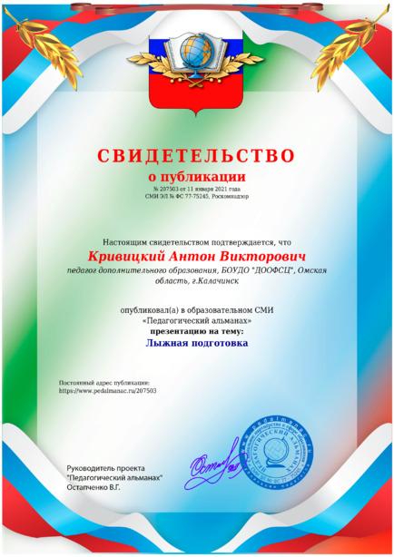 Свидетельство о публикации № 207503