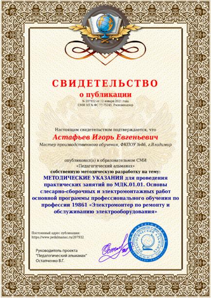 Свидетельство о публикации № 207932