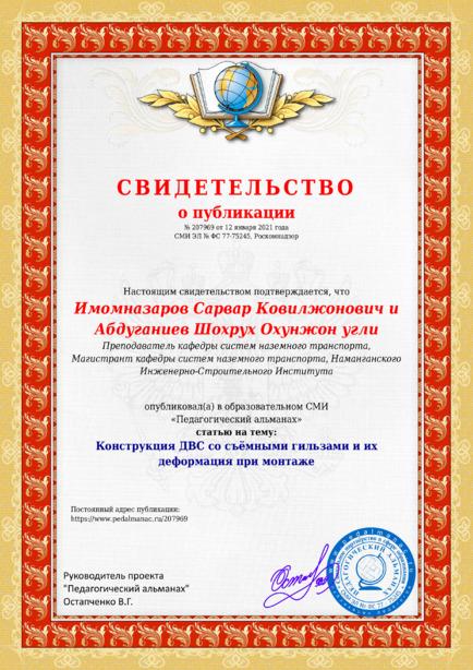 Свидетельство о публикации № 207969