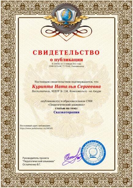 Свидетельство о публикации № 208502