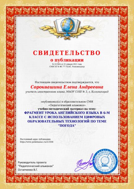Свидетельство о публикации № 213504