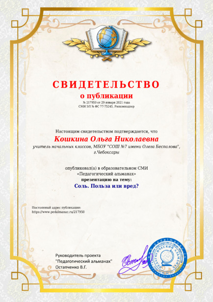 Свидетельство о публикации № 217950