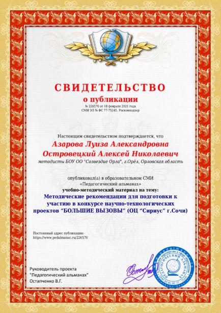 Свидетельство о публикации № 226570