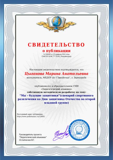 Свидетельство о публикации № 228065