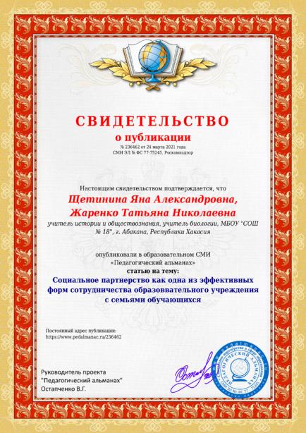 Свидетельство о публикации № 236462