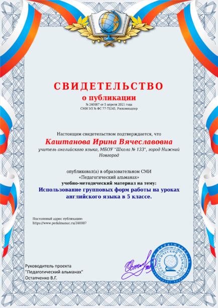 Свидетельство о публикации № 240087