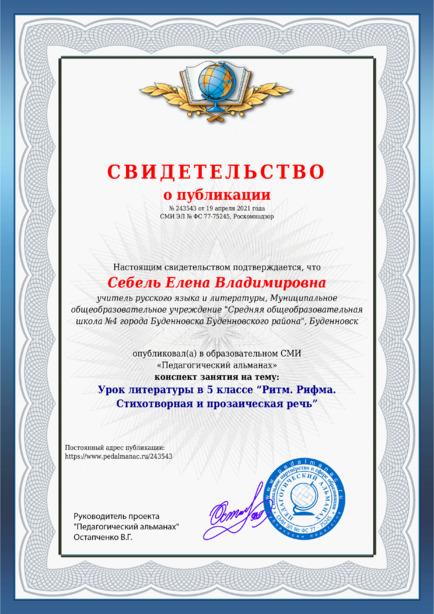 Свидетельство о публикации № 243543