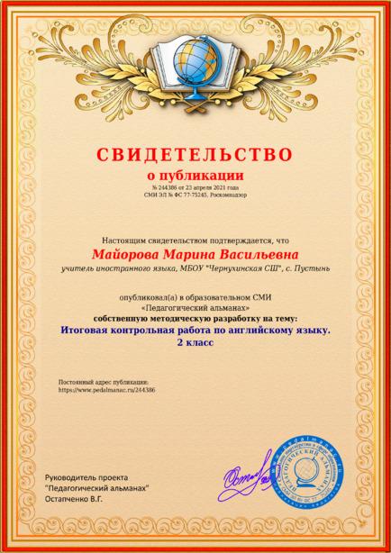 Свидетельство о публикации № 244386