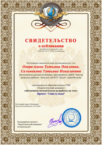 Свидетельство о публикации № 244460