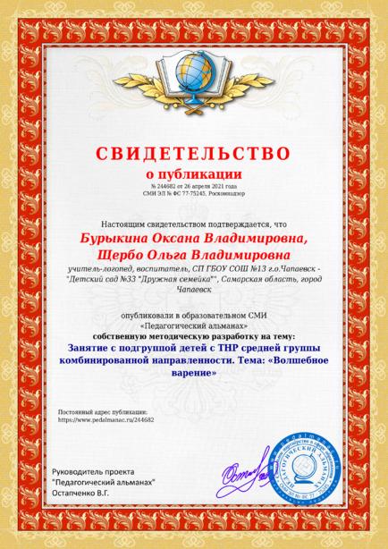 Свидетельство о публикации № 244682