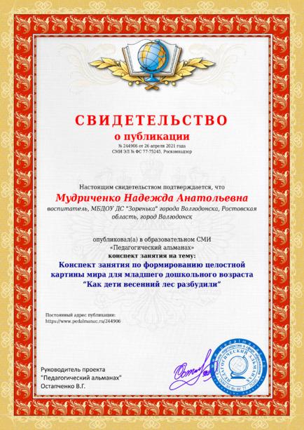 Свидетельство о публикации № 244906