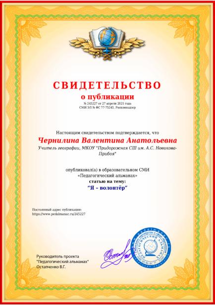 Свидетельство о публикации № 245227