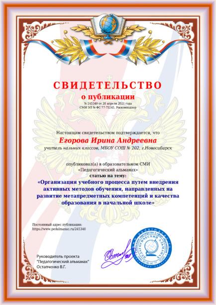 Свидетельство о публикации № 245340