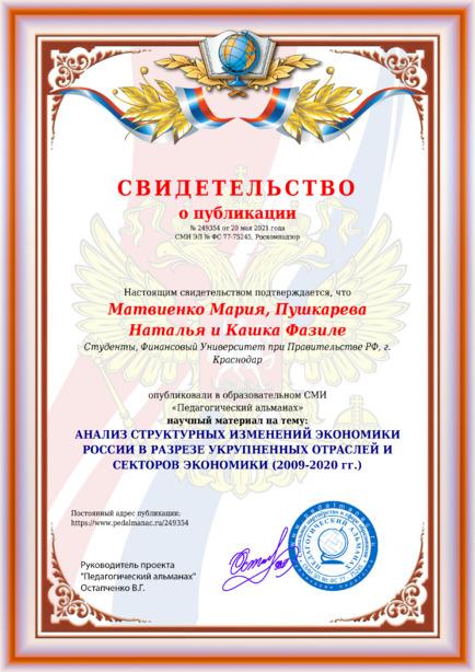 Свидетельство о публикации № 249354