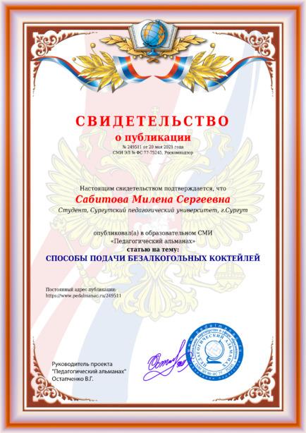 Свидетельство о публикации № 249511