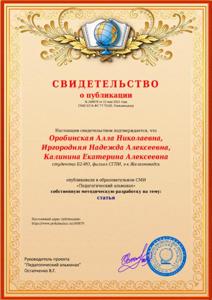 Свидетельство о публикации № 249879
