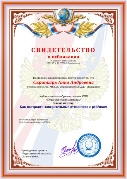 Свидетельство о публикации № 250020