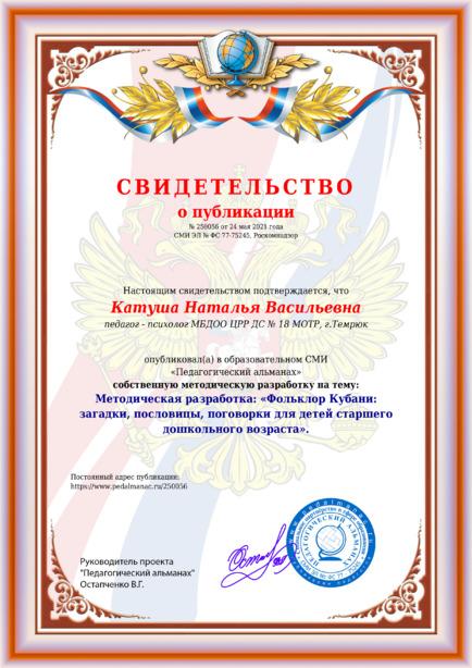 Свидетельство о публикации № 250056