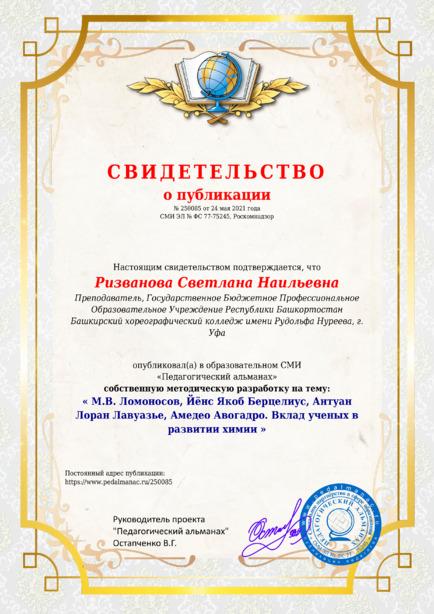 Свидетельство о публикации № 250085