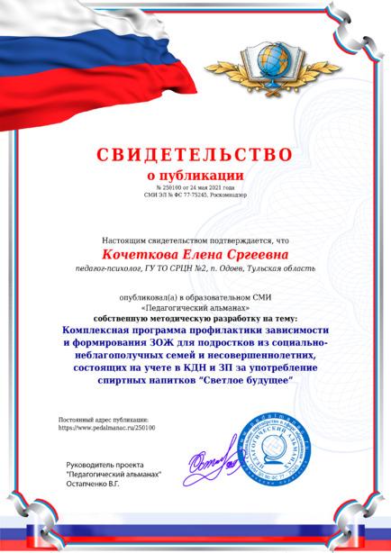 Свидетельство о публикации № 250100