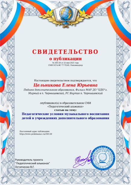 Свидетельство о публикации № 250130