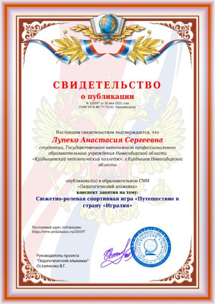 Свидетельство о публикации № 250597