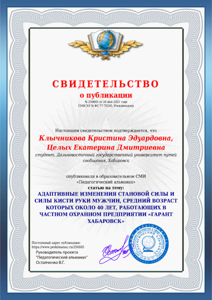 Свидетельство о публикации № 250685