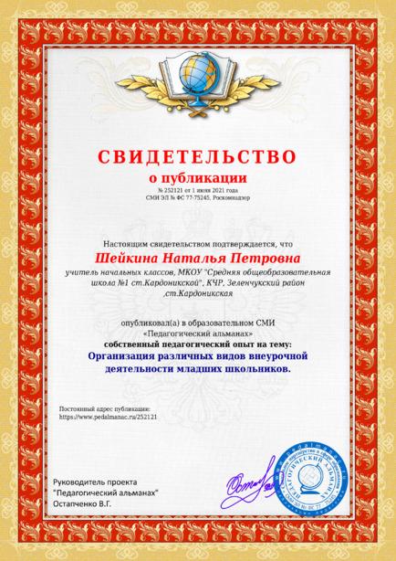 Свидетельство о публикации № 252121