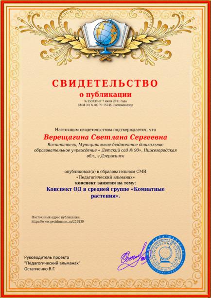 Свидетельство о публикации № 253839