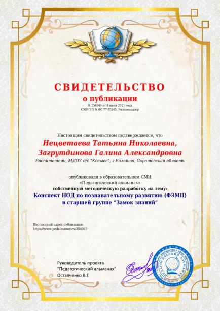 Свидетельство о публикации № 254049