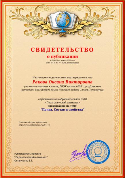 Свидетельство о публикации № 254173