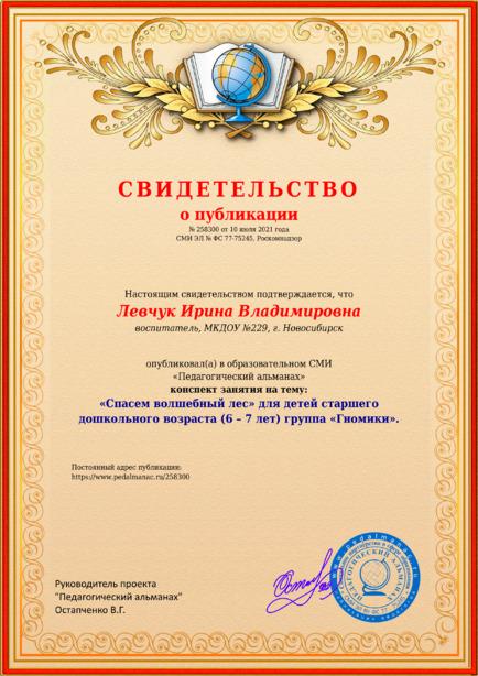 Свидетельство о публикации № 258300