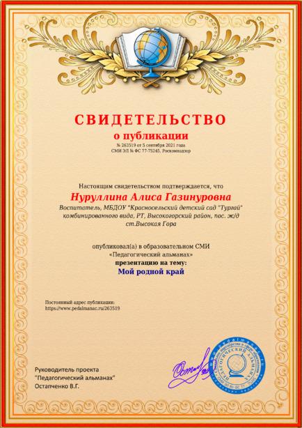 Свидетельство о публикации № 263519
