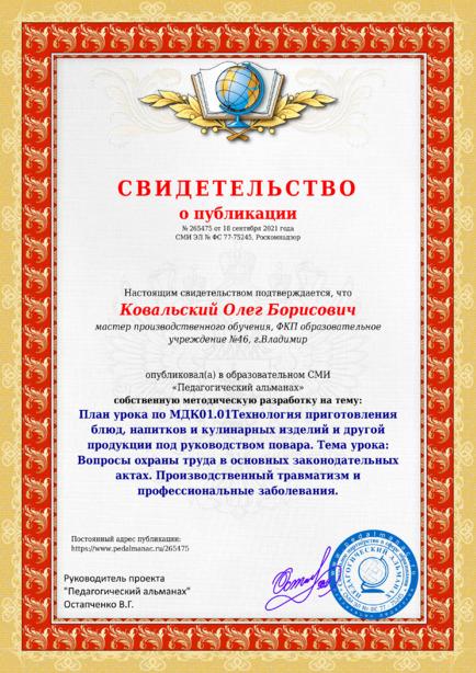 Свидетельство о публикации № 265475