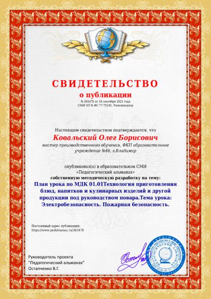 Свидетельство о публикации № 265478