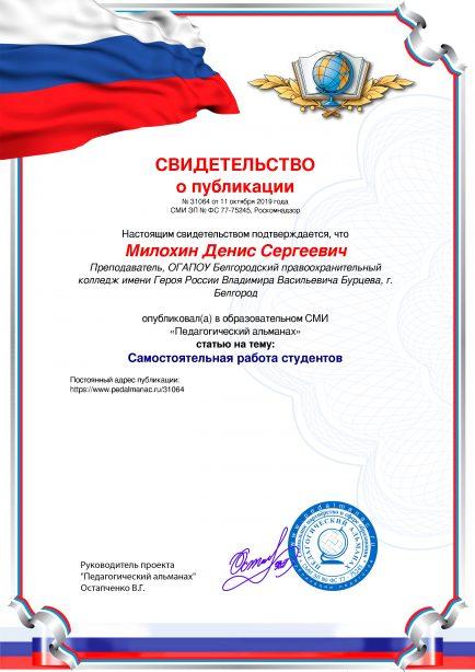 Свидетельство о публикации № 31064